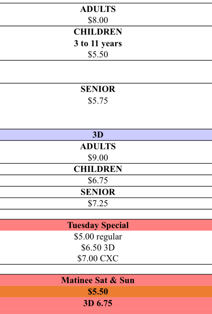 Caribbean Cinemas Pricing
